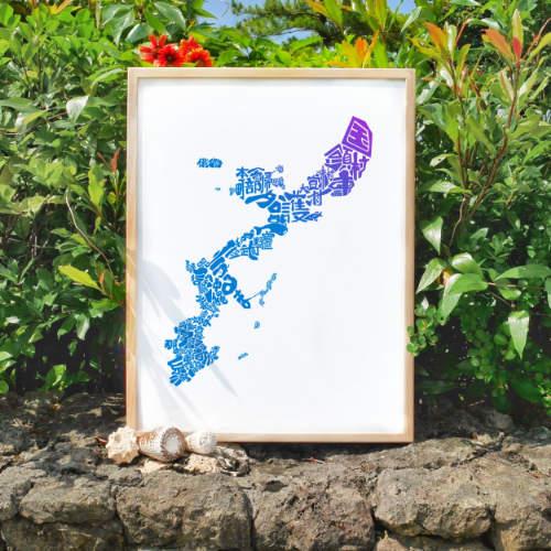 Okinawa Map Blue Zanpa Sunset