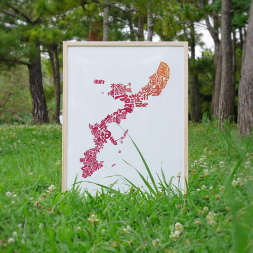 Okinawa Map Red Hibiscus