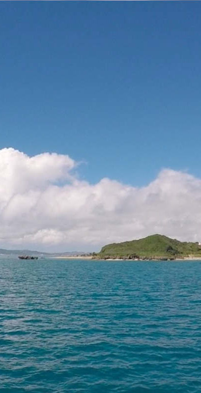 Looking back to Okinawa main island from the ferry to Tsuken jima