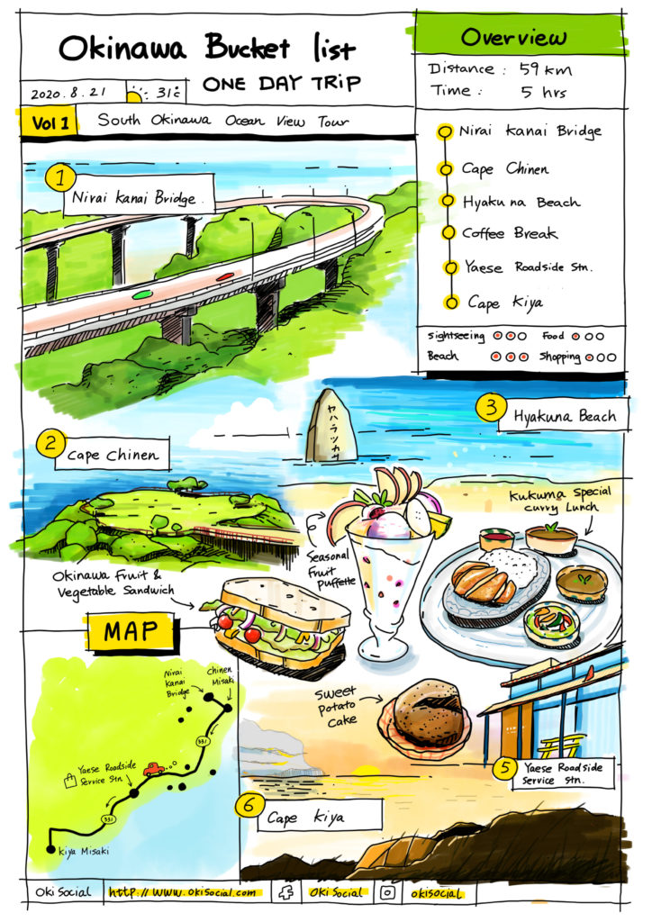 Printable Okinawa One Day Tour Itinerary - South Okinawa Ocean View Tour
